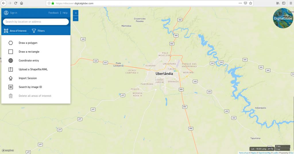 Tela principal do portal Discovery, uma ferramenta de consulta de imagens de satélite de alta resolução espacial da empresa DigitalGlobe