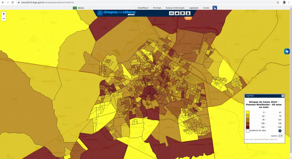 População Residente acima dos 60 Anos - Uberlândia MG (Censo/2010)