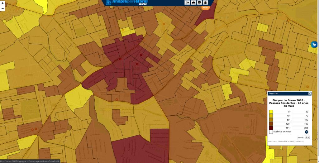 População Residente acima dos 60 Anos. Detalhe Bairro Fundinho (Censo/2010)
